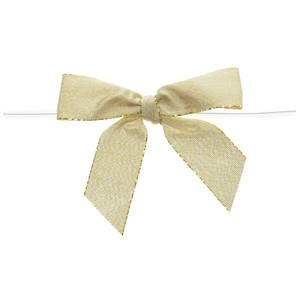 Large Metallic Gold Twist Tie Bow Pack of 100, 3 1/4