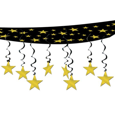 Pack of 6 New Year Hollywood Theme Party Gold Stars Hanging Ceiling Decorations 12'