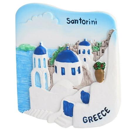 Kitchen Fridge Resin Greece Santorini Architecture Tourism Scene Magnet Sticker ()