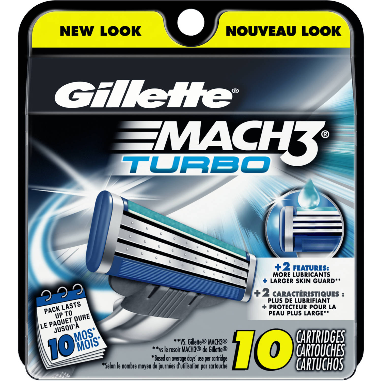 Gillette Mach3 Turbo Men's Razor Blade Refills, 10 count