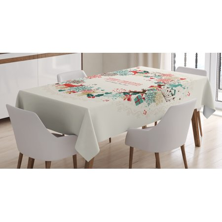 Christmas Decorations Tablecloth, Vintage Garland Inspired Round with Hand Drawn Cute Seasonal Figures, Rectangular Table Cover for Dining Room Kitchen, 52 X 70 Inches, Multicolor, by Ambesonne - Round Christmas Tablecloths
