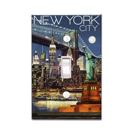 New York City, NY - Skyline at Night - Lantern Press Poster (Light Switchplate Cover) - Party City Monroe Ny
