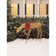 """Holiday Time Christmas Decor 40"""" Glittering Natural Grapevine-Look Doe Light Sculpture"""