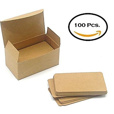 Blank Kraft Paper Mini Cards 100 PCS In A Box - Message Card, Business Card - 1.75 x 3.2 Inch - Brown. By Mega Stationers - Kraft Cardstock