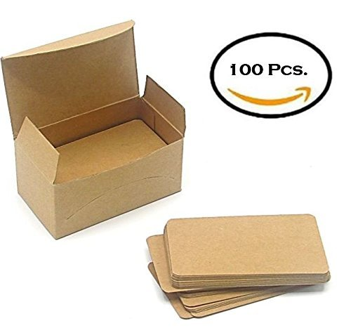 Blank Kraft Paper Mini Cards 100 PCS In A Box - Message Card, Business Card - 1.75 x 3.2 Inch - Brown. By Mega Stationers