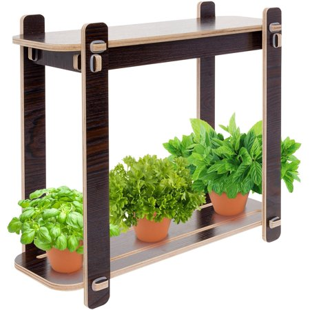 Mindful Design Wood Finish LED Indoor Garden - Grow Herbs, (Best Herbs To Grow In Pots Indoors)