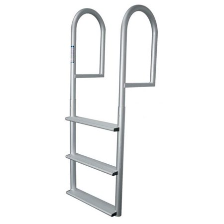 Aluminum 12 Volt Outdoor Step - JIF MARINE DJV4 4-Step Stationary Dock Ladder - Anodized Aluminum