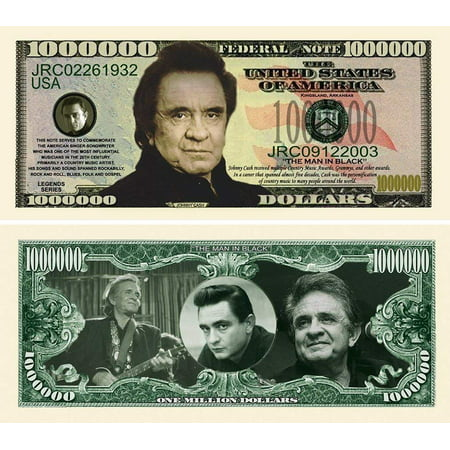 "Johnny Cash Million Dollar Bill with Bonus ""Thanks a Million"" Gift Card Set and Clear Protector (Get Cash For Gift Card)"