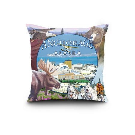 Anchorage Alaska Views Lantern Press Artwork 20x20 Spun Polyester Pill