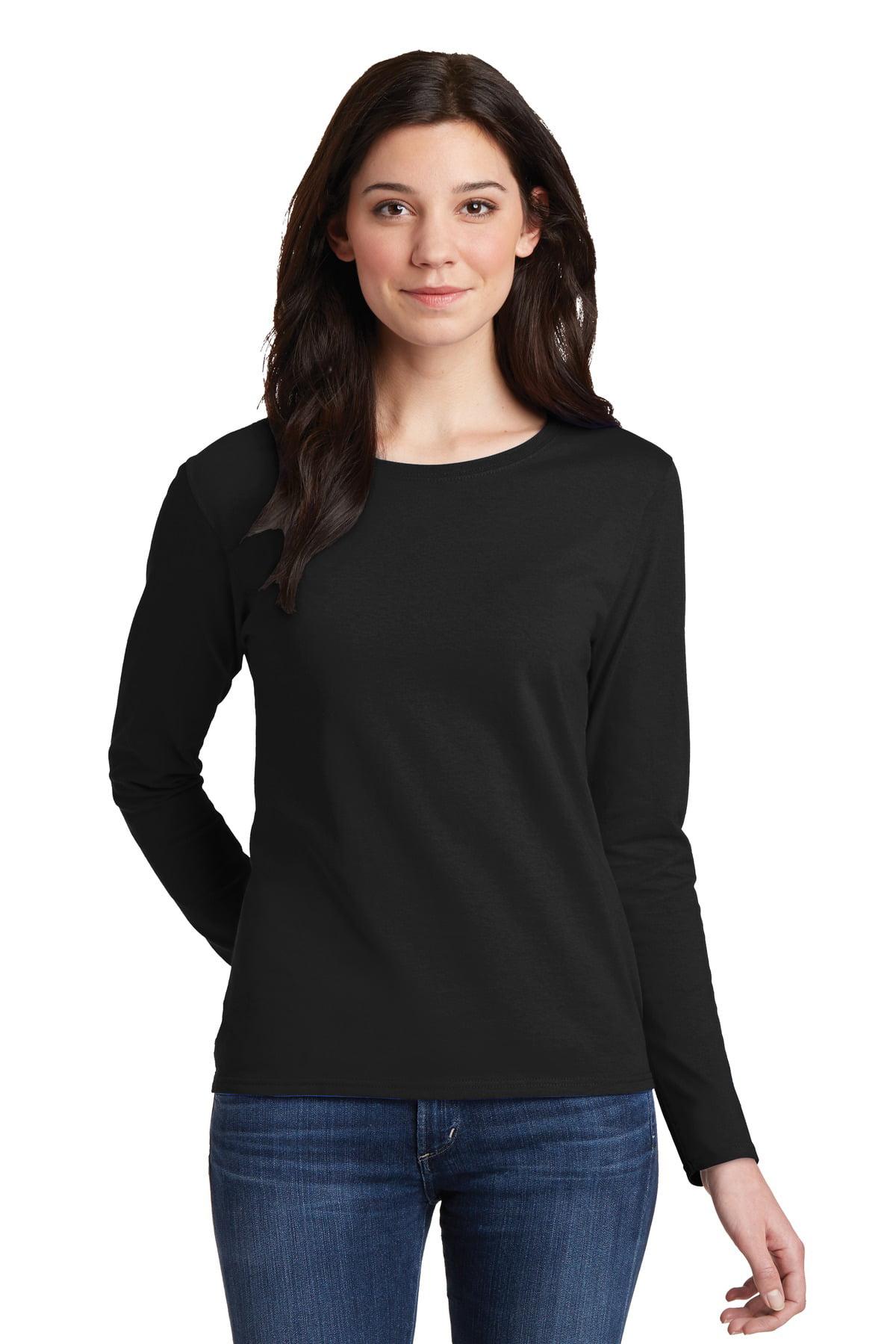 c0ab95fb3e361 Gildan - Gildan Women s 100 Percent Cotton Long Sleeve T-Shirt. 5400L -  Walmart.com
