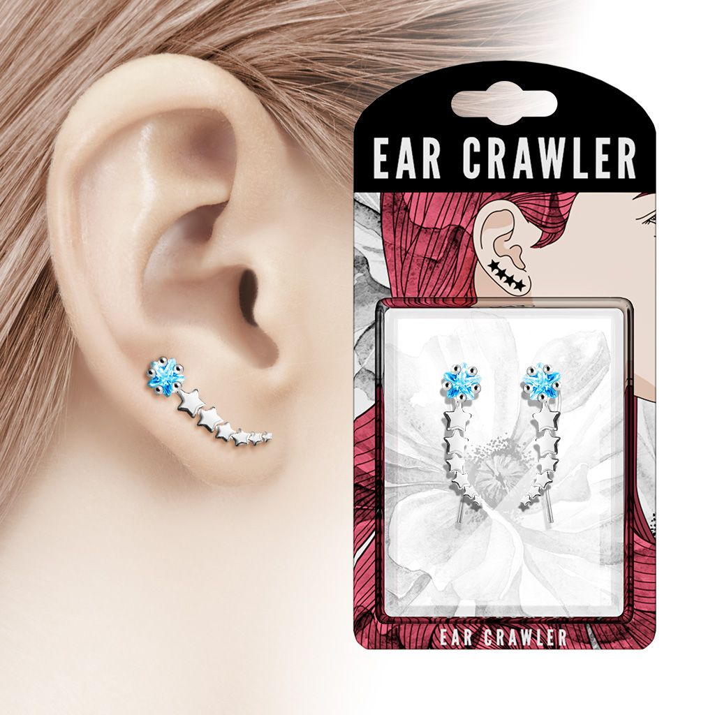 Silver Tone Shooting Star with Aqua CZ Prepacked Ear Crawler Ear Climber Pair