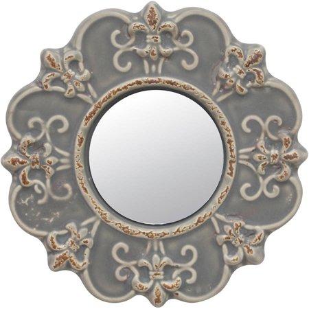 Stonebriar Collection Matte Gray Ceramic FDL Mirror