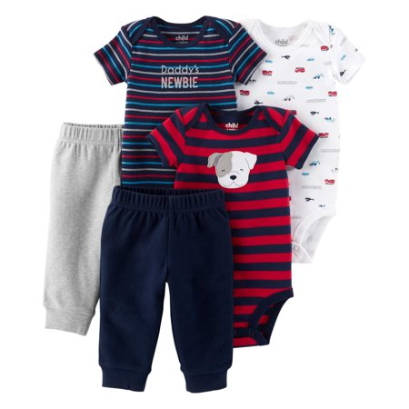 Child of Mine by Carter's Short Sleeve Bodysuits & Pants Baby Shower Gift Set, 5pc (Baby Boy) - Baby Shower Gifts For Men