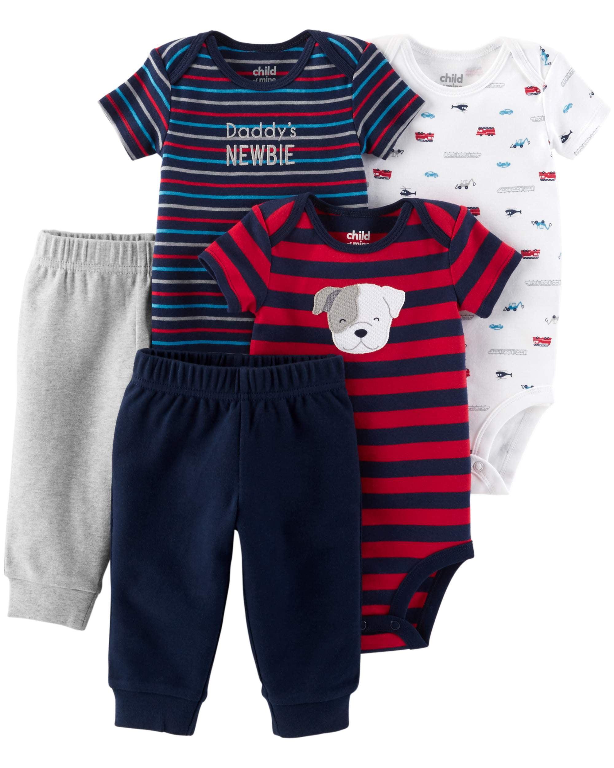 Short Sleeve Bodysuits & Pants, 5pc Set (Baby Boys)