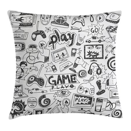 Fantastic Video Games Throw Pillow Cushion Cover Monochrome Sketch Style Gaming Design Racing Monitor Device Gadget Teen 90S Decorative Square Accent Pillow Uwap Interior Chair Design Uwaporg