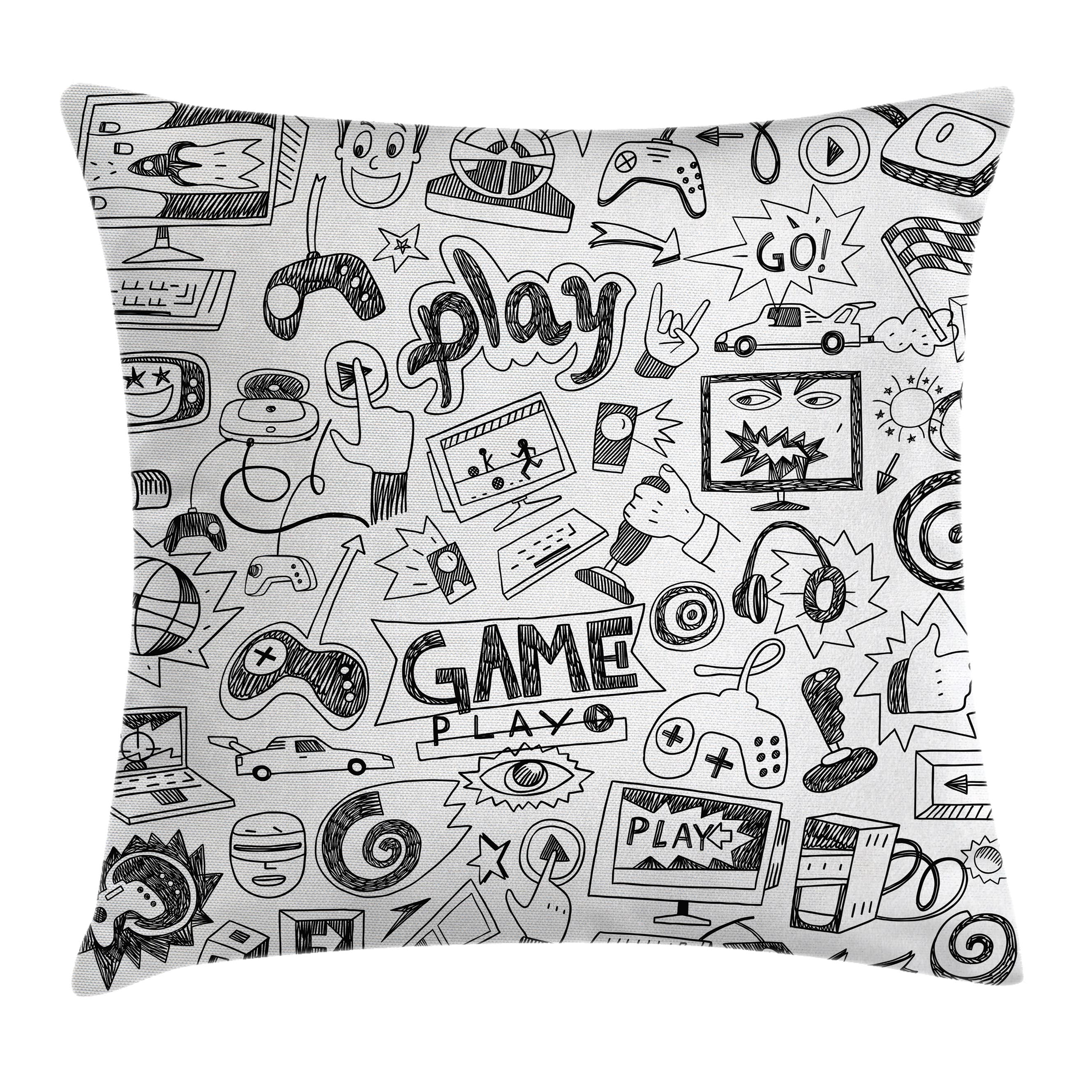 Video Games Throw Pillow Cushion Cover, Monochrome Sketch Style Gaming Design Racing Monitor Device Gadget Teen 90's, Decorative Square Accent Pillow Case, 16 X 16 Inches, Black White, by Ambesonne