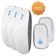 Wireless Doorbell Door Chime Kit Portable Waterproof Push Button over 900ft Long Range 4-Level Volume & Blue Light 36 Melodies to Choose 3 Plug-in Receivers & 2 Transmitters