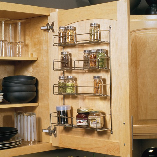 "Spice Rack, 10-13/16""W x 20""H x 3-7/8""D, Frosted Nickel Top 3 Tiers are 2-11/16""D"
