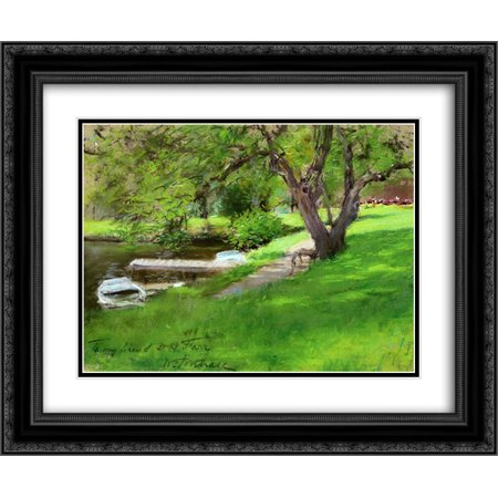 William Merritt Chase 2X Matted 24X20 Black Ornate Framed Art Print Bank Of A Lake In Central Park