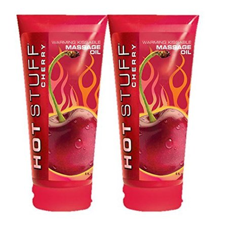 Hot Stuff CHERRY Warming Kissable Massage Oil Sugar Free Lubricant : Size 6 Fl.