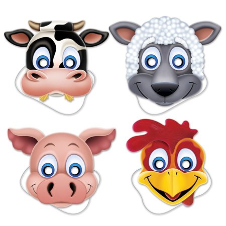 Farm Animal Paper Masks (4 ct) - Farm Animal Birthday Supplies