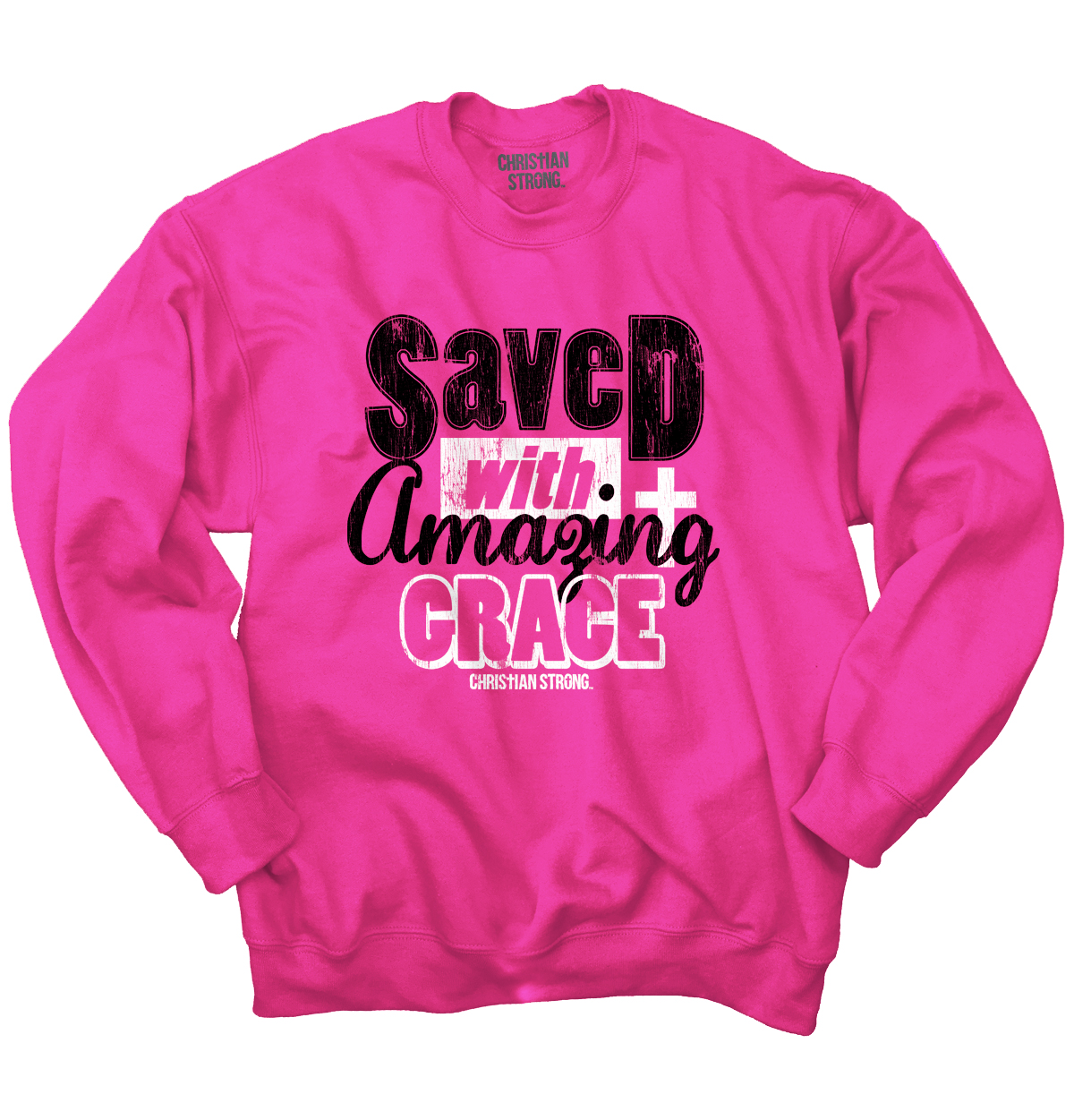 Christian Crewneck Sweatshirt Saved With Amazing Grace Cross Jesus Religious by Christian Strong