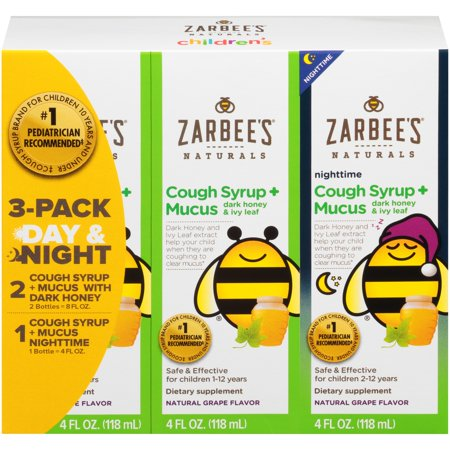 Zarbee's® Naturals 3 Pack Day & Night Cough Syrup + Mucus with Dark Honey Dietary Supplements 3-4 fl. oz.