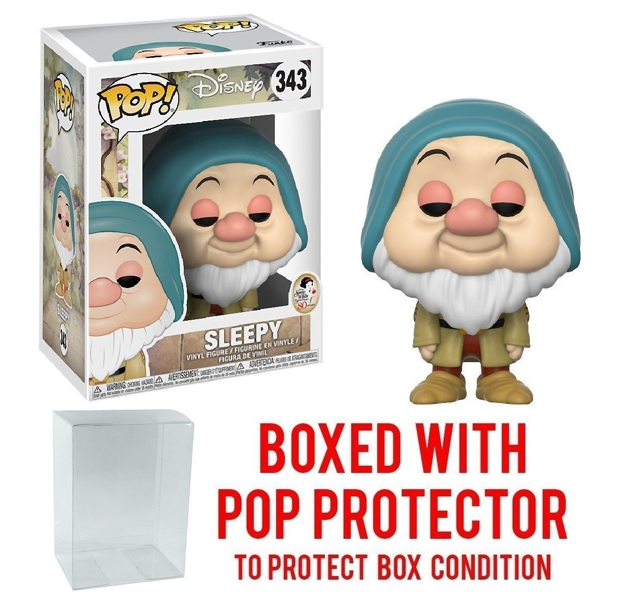 Funko Pop! : Snow White and the Seven Dwarfs Sleepy Pop! Vinyl Figure and (Bundled with Pop BOX PROTECTOR CASE)