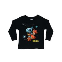 Personalized Wallykazam Flying Fun Toddler Boys' Black Long Sleeve T-Shirt