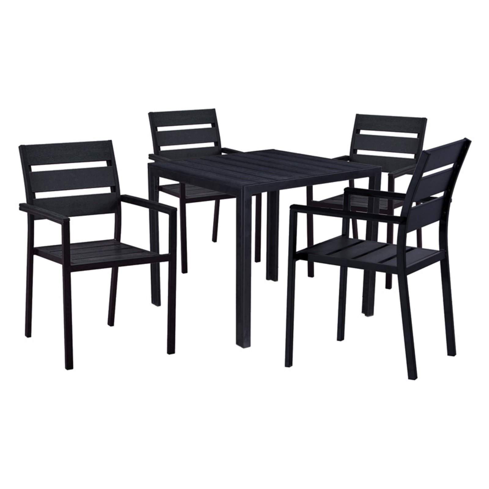Oakland Living Slat Back Faux Wood and Steel 5 Piece Square Counter Height Patio Dining Set