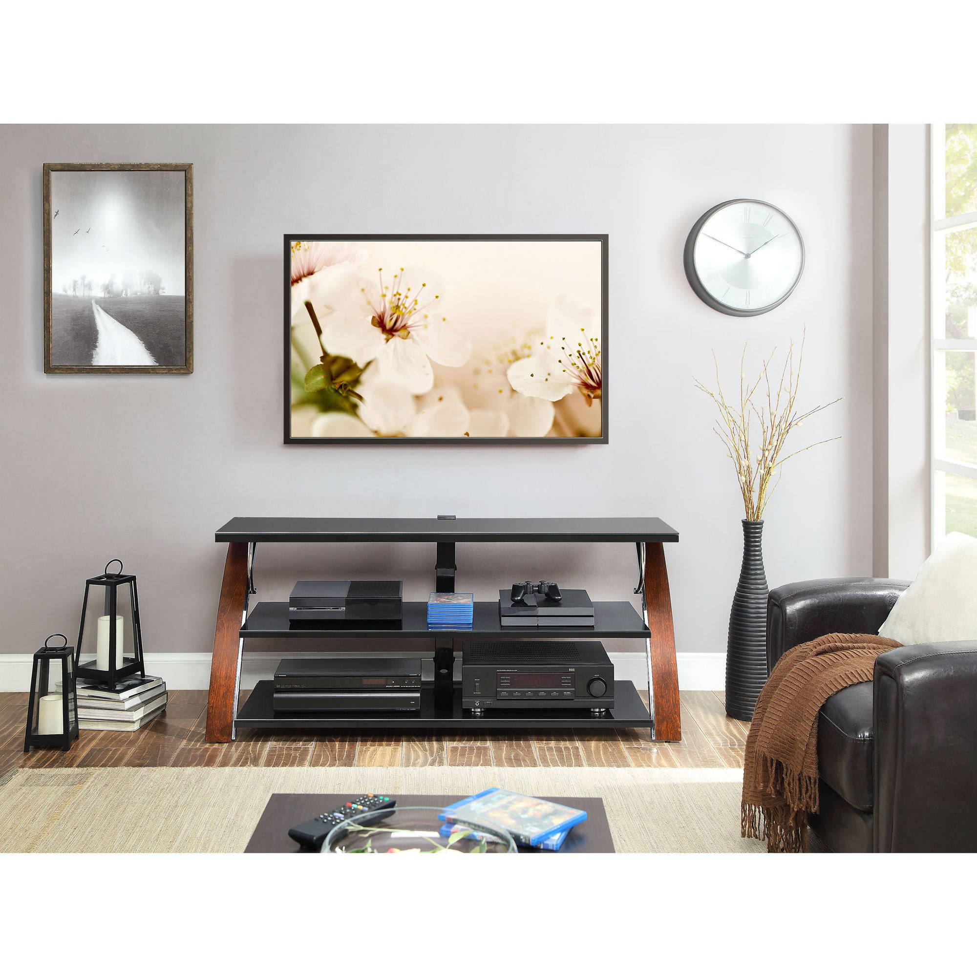 Whalen Brown Cherry 3-in-1 Flat Panel TV Stand for TVs up to 65 ...