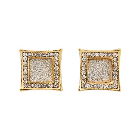 Mens Gold Tone 15mm Iced Out Hip Hop Bling Stardust Micropave Concave Kite Earrings (Hip Earrings)