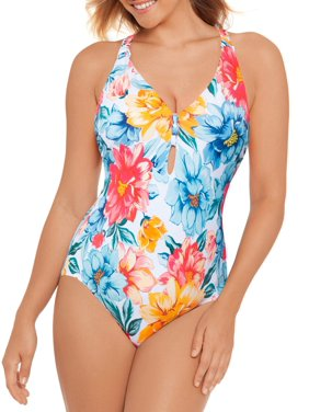 Time and Tru Women's Kasbah Floral One Piece Swimsuit