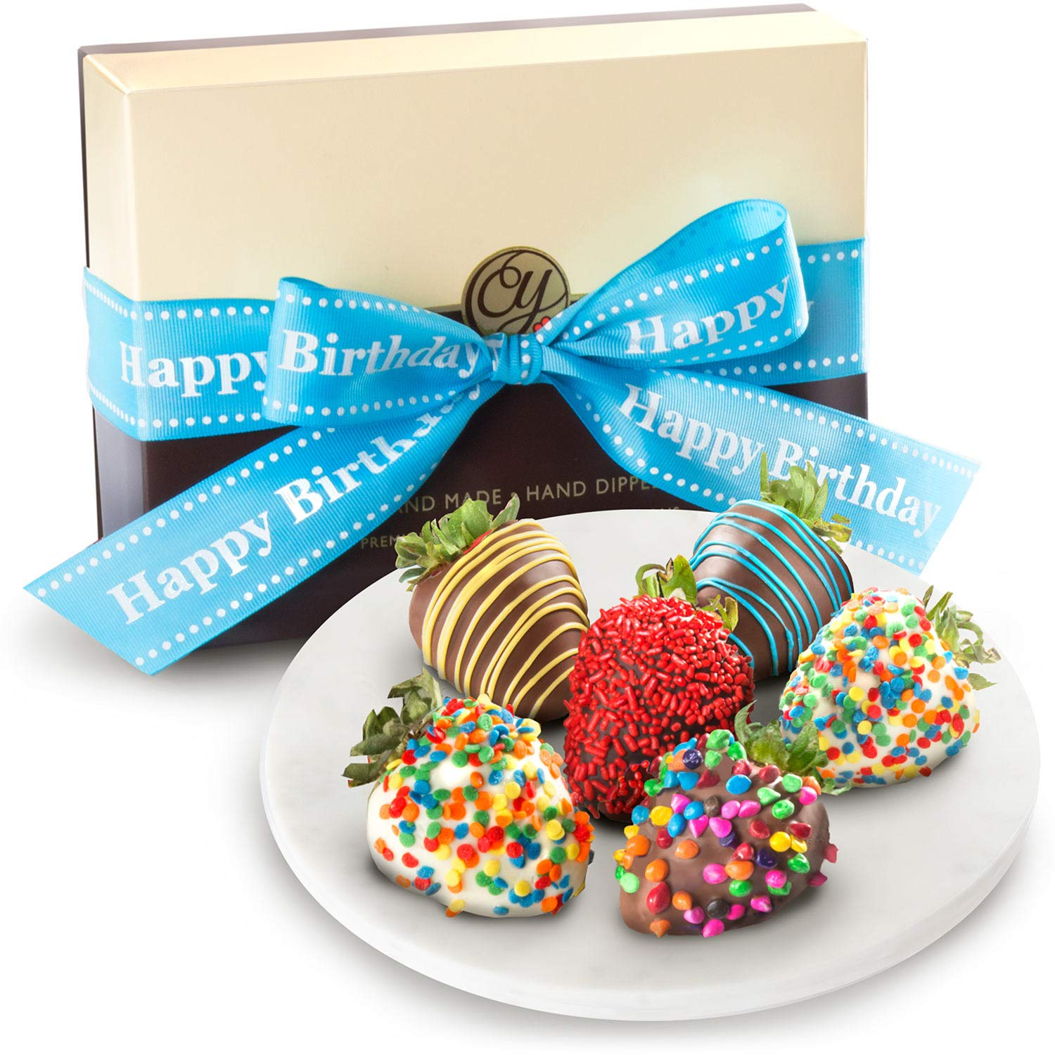6 Happy Birthday Chocolate Covered Strawberries