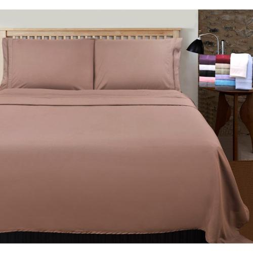 Wrinkle Resistant Embroidered 2-line Sheet Set with Gift Box King Pillowcase (Set of 2) - Plum