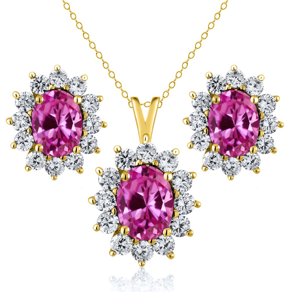 3.25 Ct Pink Created Sapphire 18K Yellow Gold Plated Silver Pendant Earrings Set