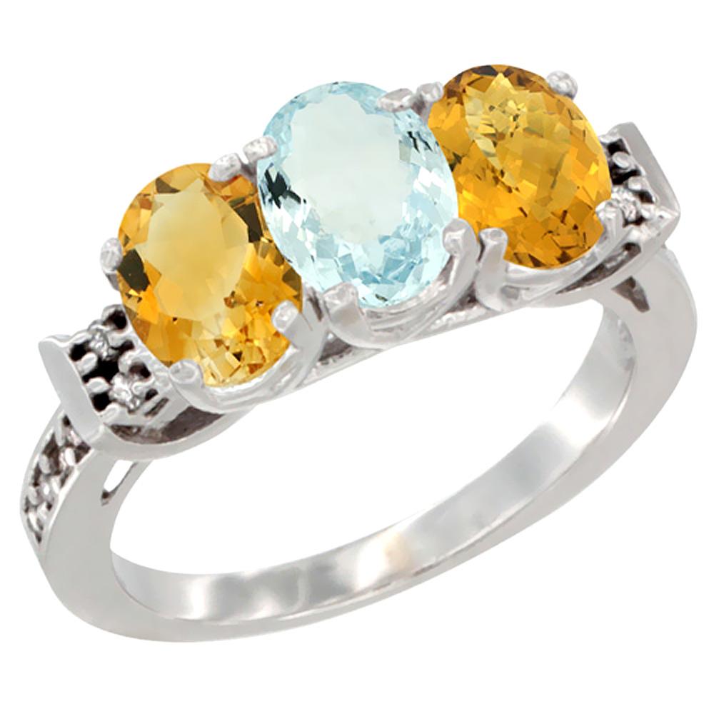 14K White Gold Natural Citrine, Aquamarine & Whisky Quartz Ring 3-Stone 7x5 mm Oval Diamond Accent, sizes 5 10 by WorldJewels