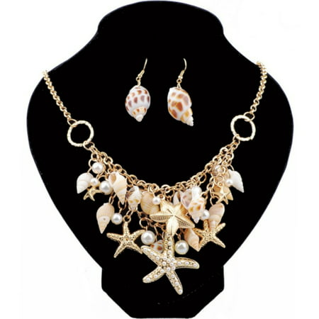 Natural Sea Shells Simulated Pearls Starfish Anti-Tarnish Ocean Necklace Earring (Shell Necklace And Earrings)