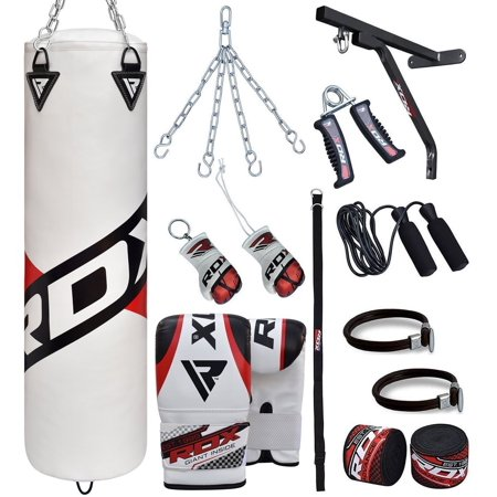 RDX Punching Bag Filled New Punch Boxing Mitts Free Standing Gloves 4ft 5ft Training 17pc White