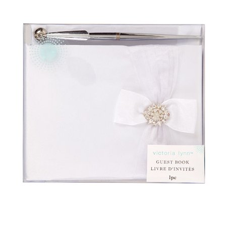 Victoria Lynn Wedding Guest Book Set: White Book w/Accent Bow and Pen (Wedding Pens)