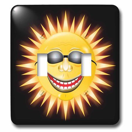 3dRose Smiling Sunshine a happy sunny face wearing sunglasses with a smile - Double Toggle Switch (Sunshine Sunglasses)
