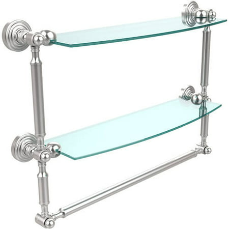 """Waverly Place Collection 18"""" 2-Tiered Glass Shelf with Integrated Towel Bar (Build to Order)"""