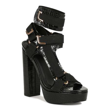 Women Strappy Elastane Harness Embossed Chunky Platform Heel Sandal 19329 Croco Embossed Sandal