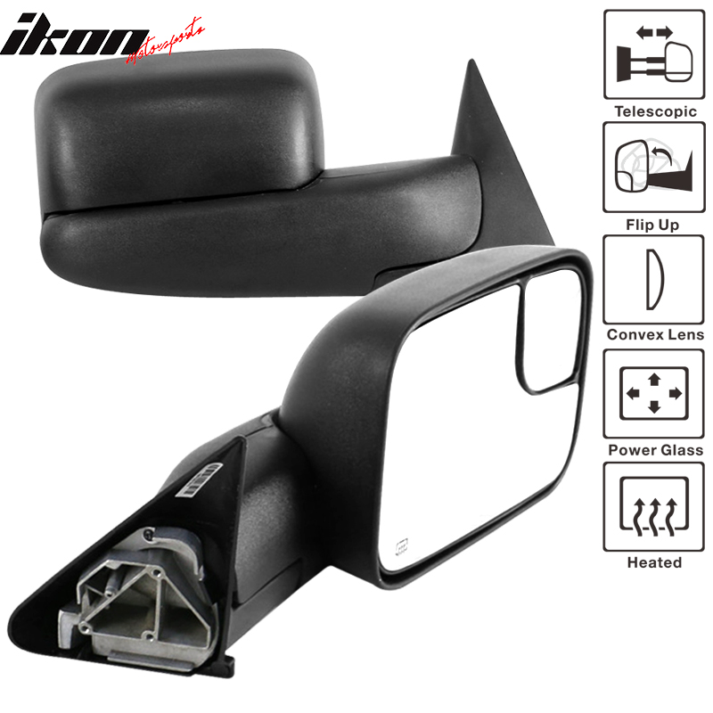 New Tow Mirror Glass Convex Power Outer Right /& Left Set for Dodge Ram 1500 2500