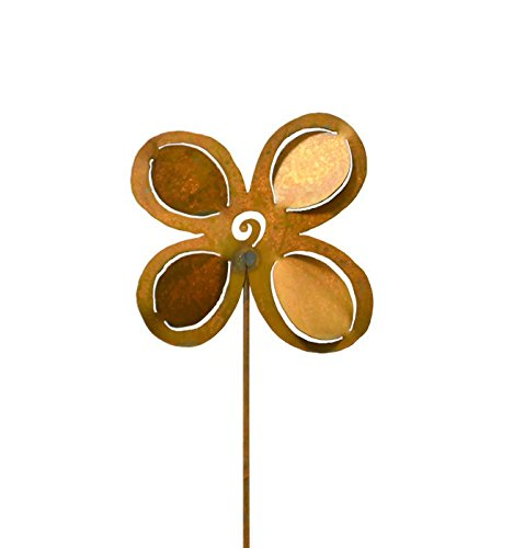 Oregardenworks Outdoor Garden Decor, Rusty Metal Yard Art, 4 Petal Dimensional Flower Garden Stake