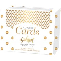 American Crafts Gold Foil Boxed Cards & Envelopes, 40 Count