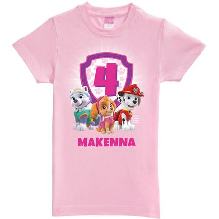 PAW Patrol Birthday Tee - Personalized Girls Pink Fitted Paw Patrol T-Shirt (S, M, L)