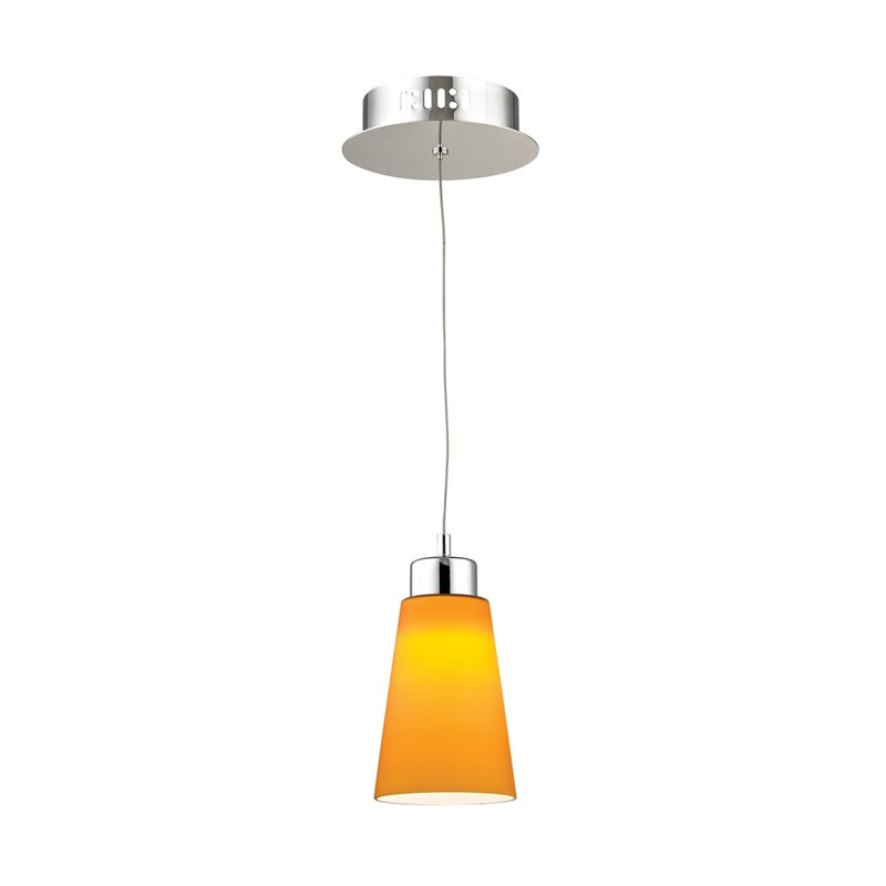 Alico Coppa LED Pendant in Chrome with Yellow Glass - image 1 of 1