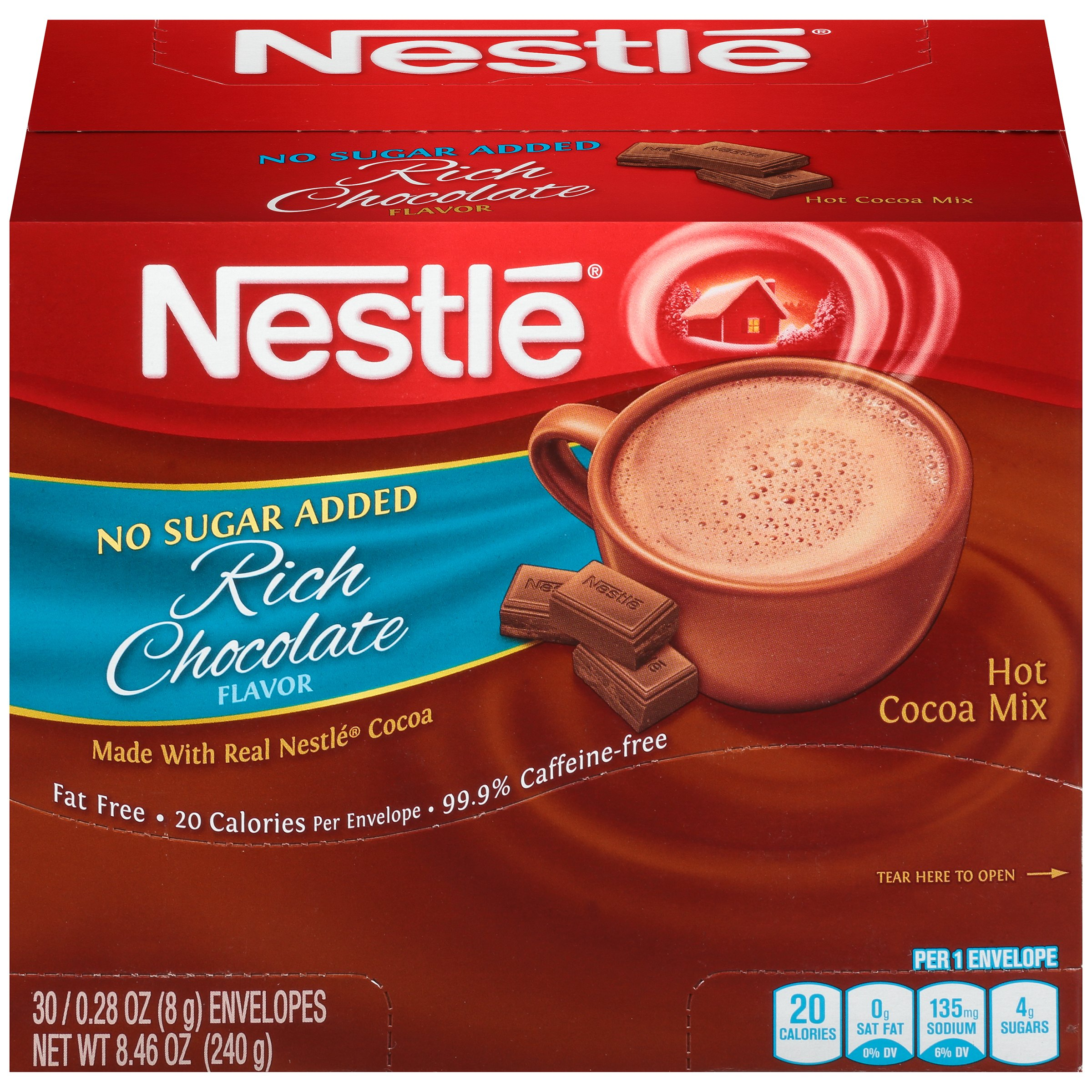 Nestlé No Sugar Added Rich Chocolate Hot Cocoa Mix 30-0.28 oz. Envelopes