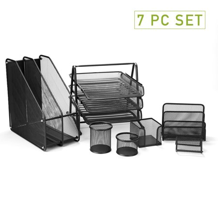 Mind Reader Metal Mesh 7 Piece Office Desk Organizer Set, Business Card Holder, 2 Compartment Folder/Document Organizer Stand, Two Pencil Cups, Memo Holder, Letter Holder, 3 Tier File Tray,